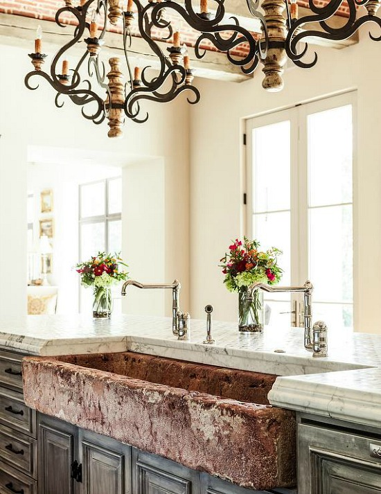 mediterranean-kitchen-distressed-apron-sink-iron-and-wood-chandelier