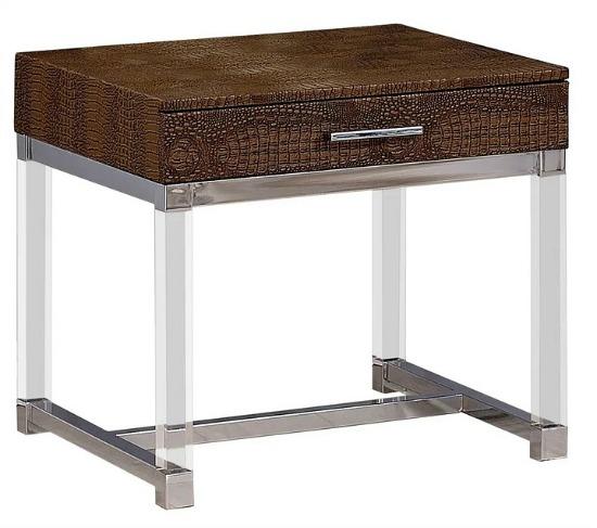 Furniture of America Jill Modern Metal Crocodile Textured End Table