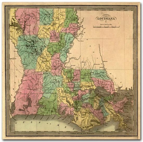 Louisiana+Map+Graphic+Art+Print+on+Canvas