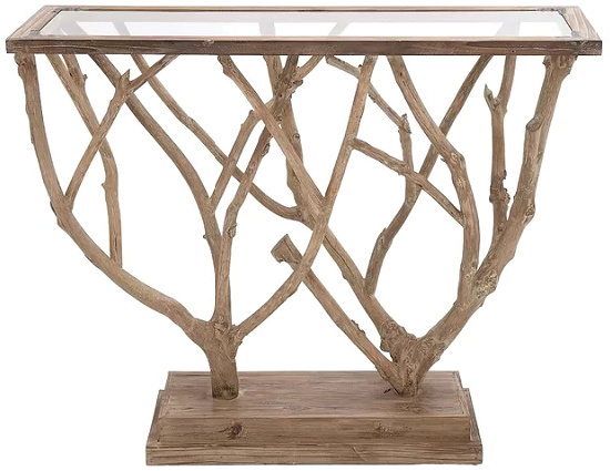 Natural Brown and Clear Glass Wood-Framed Rectangle Console Table with Natural Branch Sculpture Base