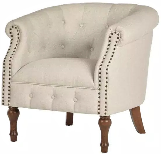Whitley Walnut Beige Wood Accent Chair with Nailheads and Tufting