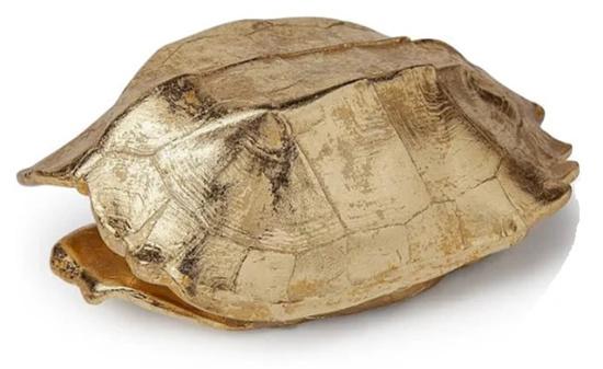 Mercana Gold Resin Turtle Shell Storage Box Box Tabletop Decoration