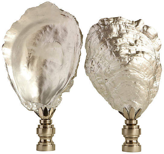 One Kings Lane Vintage Silvered Oyster Shell Lamp Finials - Set of 2
