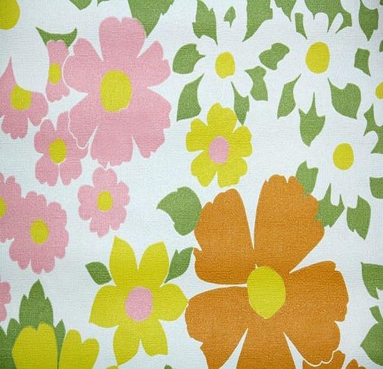 vintage retro wallpaper daisies