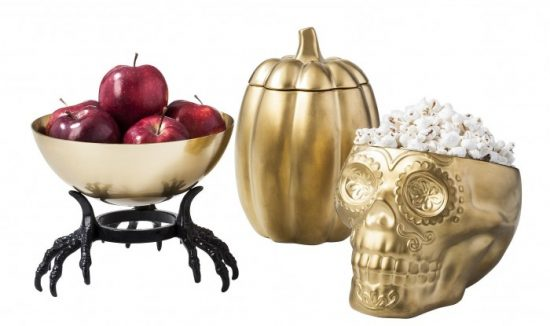 Halloween-Hand-Held-Gold-Bowl-10-Gold-Pumpkin-Jar-15-Gold-Skull-Dish