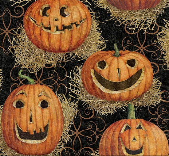 Susan Winget Halloween Jack O' Lanterns Eco Canvas Multi Fabric
