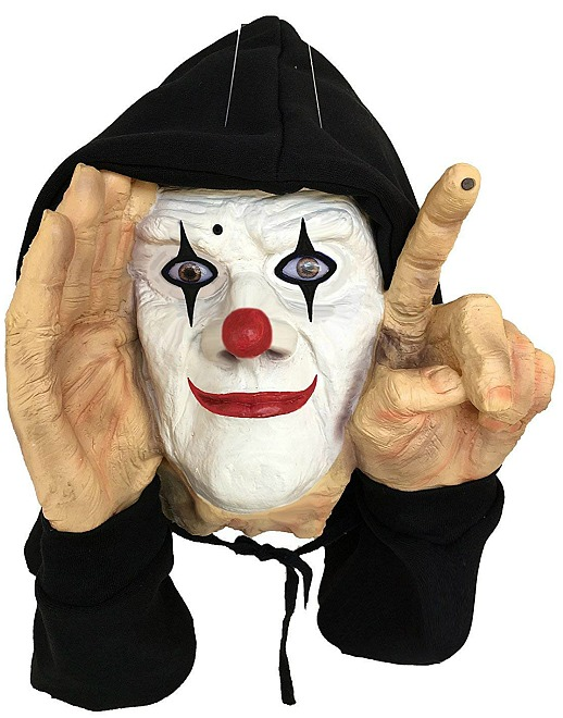 Scary Peeper Tapping Clown - Motion Sensor Scary Realistic Hooded Window Prop