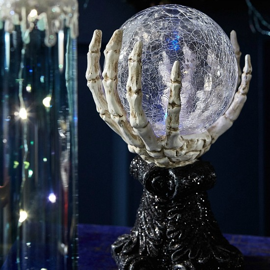 LED Light-Up Crystal Ball Halloween Decor