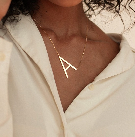Big Letter Necklace by Caitlyn Minimalist