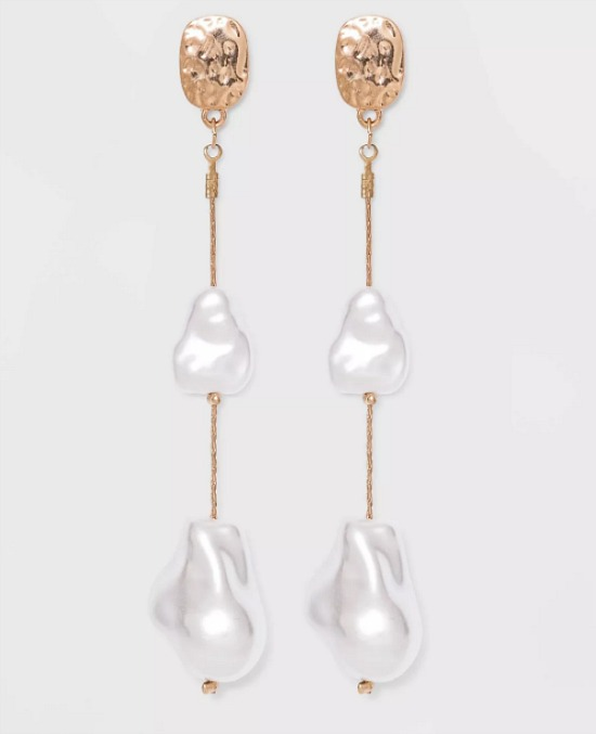 Textured Post with Simulated Pearl Linear Earrings - A New Day™ Ivory