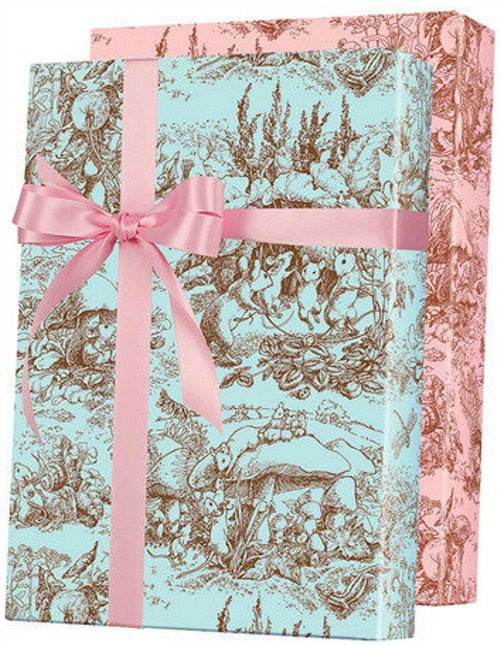 Toile Nursery Rhyme Reversible Baby Shower Gift Wrapping Paper1