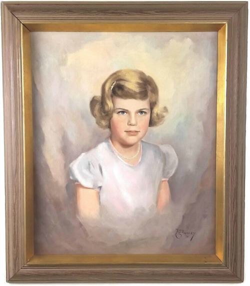 Vintage Mid-Century Portrait of Blond Young Girl Signed Painting