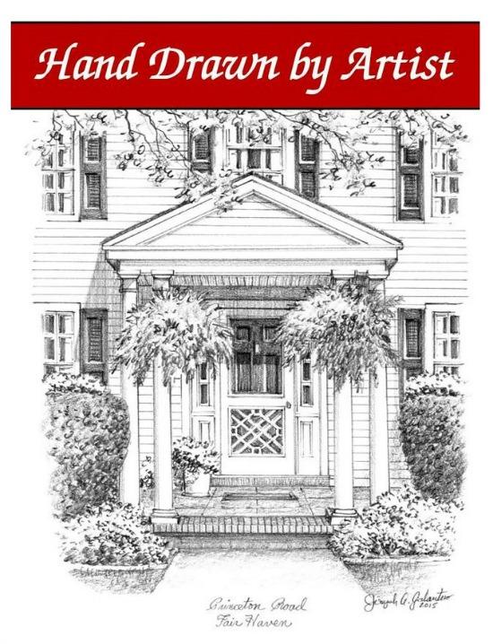 front door hand drawn custom house portrait