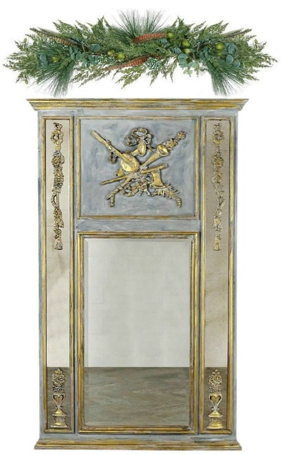 French Louis XVI Style Gilt Painted Trumeau