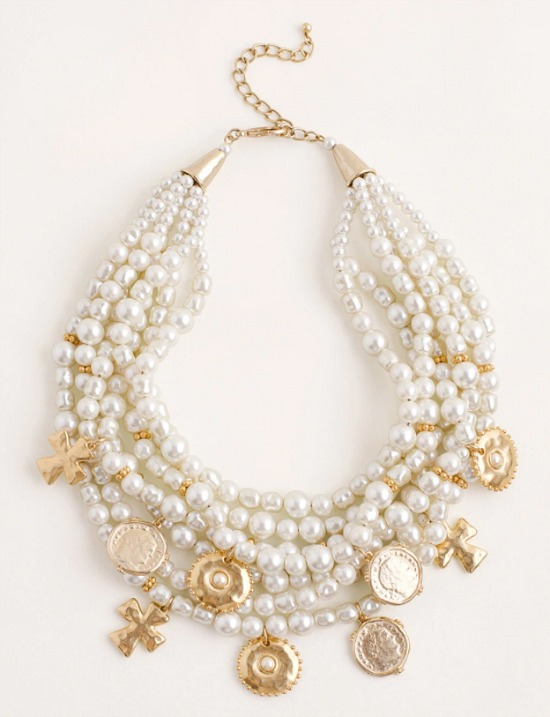 multistrand+fauxpearl+and+goldtone+coin+necklace