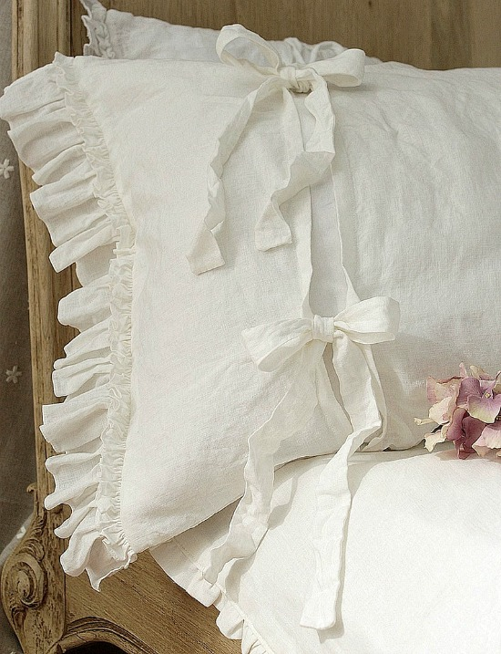 Pure Linen duvet cover 'Diane' with ruffles and ties