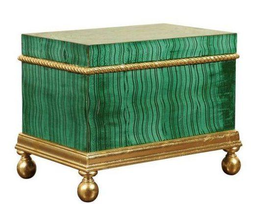 Hollywood regency faux malachite box