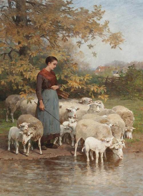Luigi_Chialiva_-_A_shepherdess_watering_her_flock