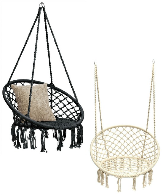 Best Choice Products Hanging Macrame Rope Swing Chair with Fringe Tassels - Black