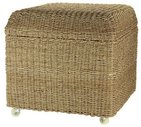 Rolling+Seagrass+Wicker+Storage+Seat+Ottoman