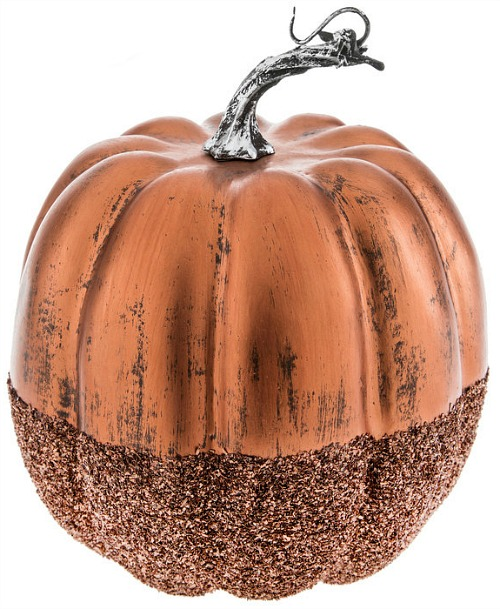 Copper Glitter-Dipped Pumpkin