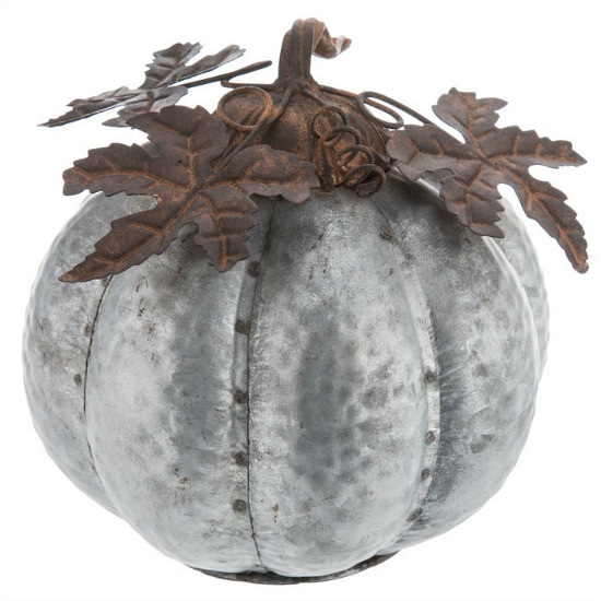 Silver Galvanized Metal Pumpkin