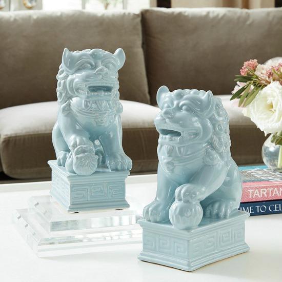 blue foo dogs-set of 2