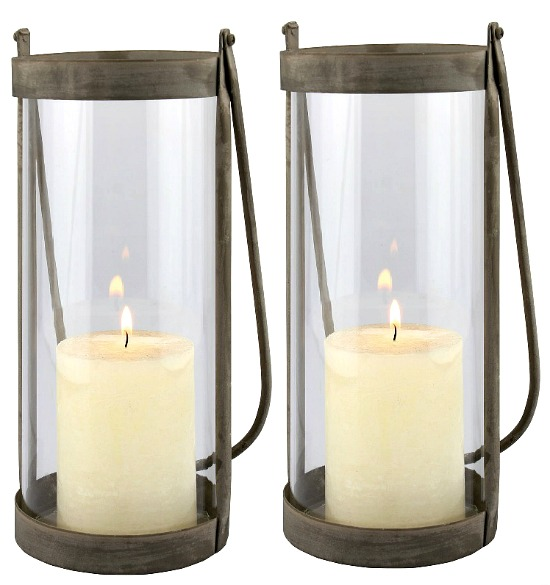 STONEBRIAR COLLECTION Medium Rustic Metal Hurricane Lantern