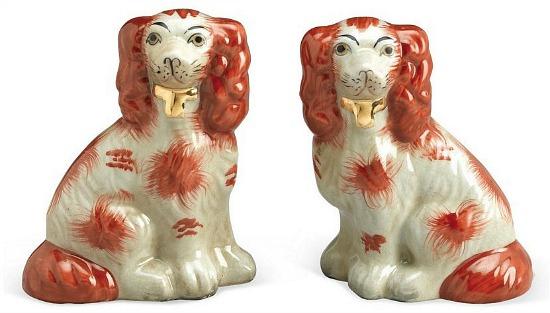 Ceramic Dogs - Brown/White