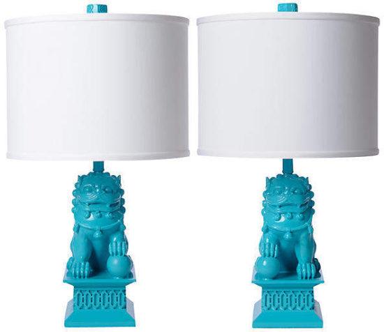 Set of 2 Mini Foo Dog Table Lamps - Seaside - Barbara Cosgrove