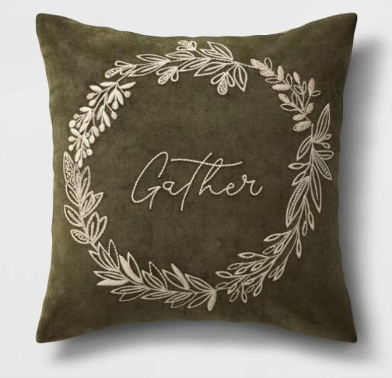 Gather Velvet Square Throw Pillow Green - Threshold™