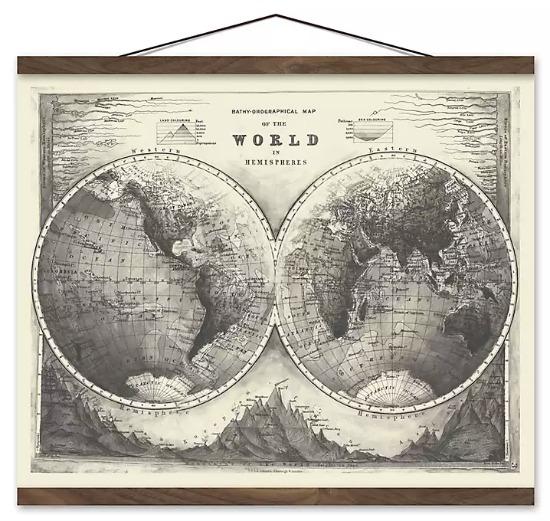 Vintage World Map Wall Hanger