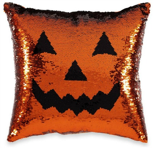 Jack-O'-Lantern Mermaid Sequin Decorative Pillow