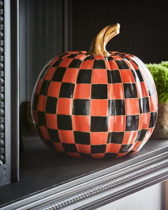 Mackenzie Childs Orange Check Medium Pumpkin