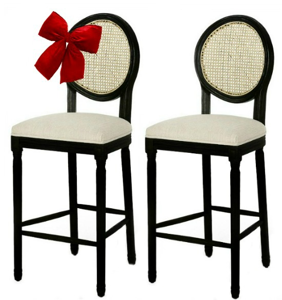 Govan French Country Wooden Barstools with Upholstered Seating (Set of 2) by Christopher Knight Home 1