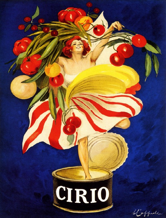 Lady Cirio Canned Food Company Woman Holding Vegetables Fruits