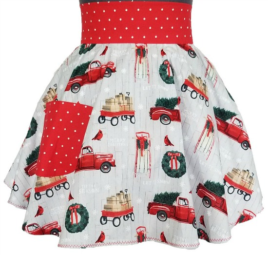 Little Red Truck Half Apron - Christmas Apron for Women
