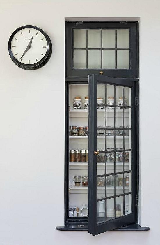 vintage window spice cupboard