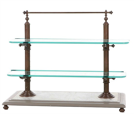 French Style Brass, Glass, and White Marble Pastry Stand, 20th Century