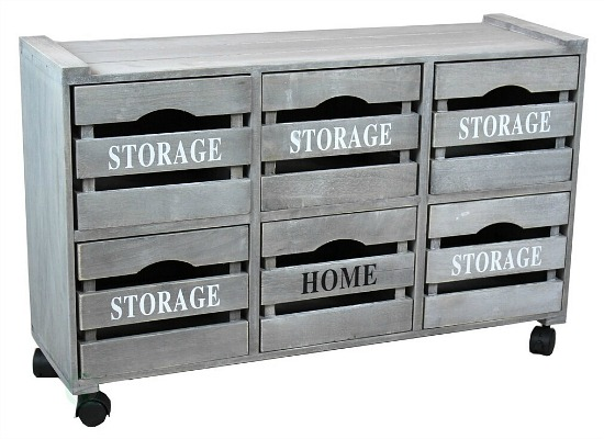 Rustic Gray Cabinet Storage Chest with 6 Crate Style Drawers