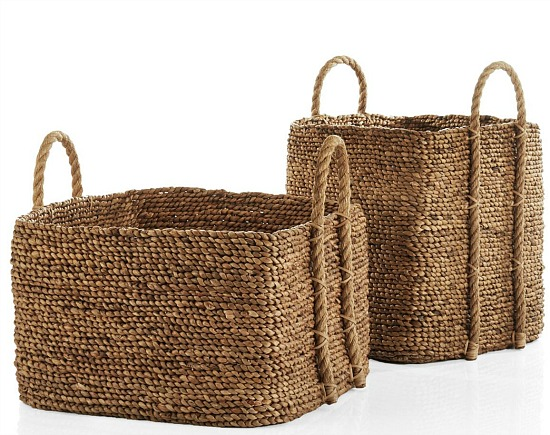 Tyler Square Basket With Rope Handle Low
