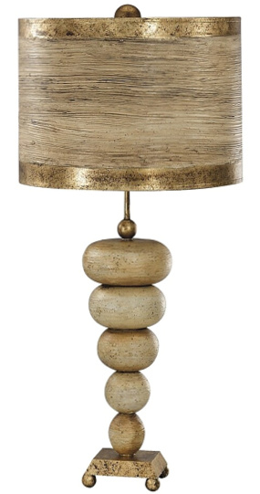 Retro Stone Table Lamp with Painted Drum Shade - Lucas McKearn