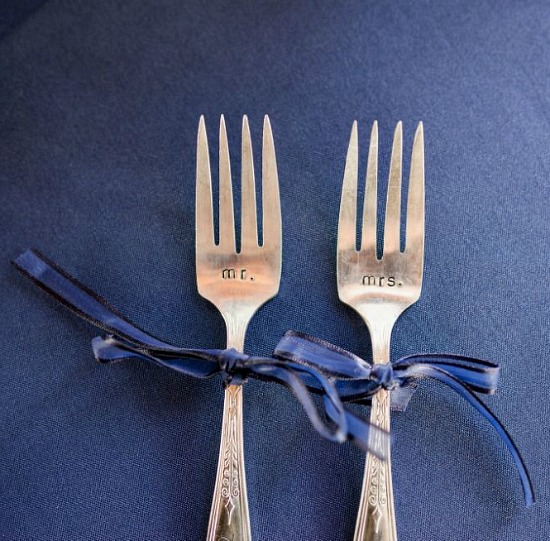 navy blue wedding utensils