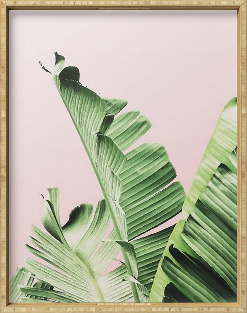 Banana Leaf on pink Serving Tray by Mydream