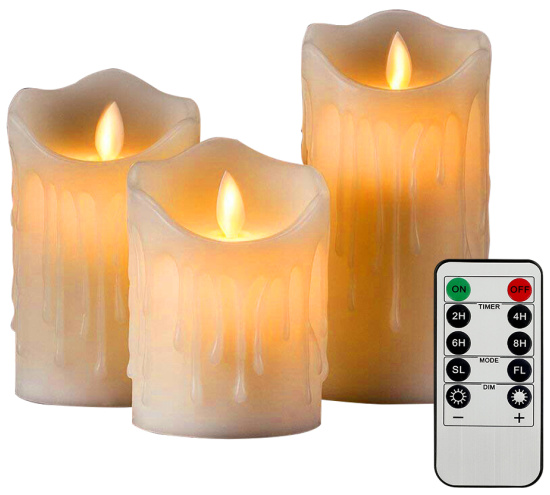 Willstar 3 Pack Candle Lights Flameless Wax LED Pillar Candles Flickering Remote Control Lights