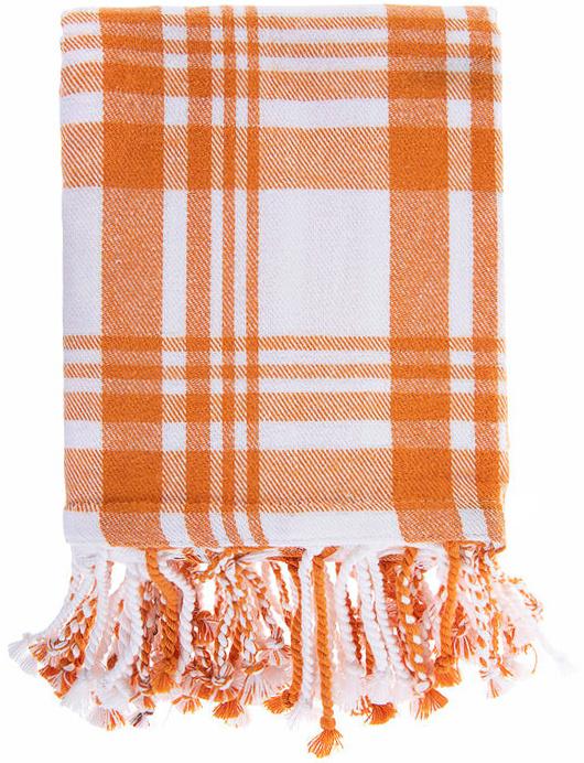 orange-white-plaid-table-cloth