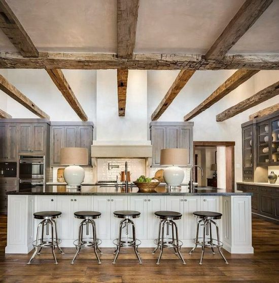 country-kitchen-rustic-wood-ceiling-cross-beams-gray-stained-pine-cabinets