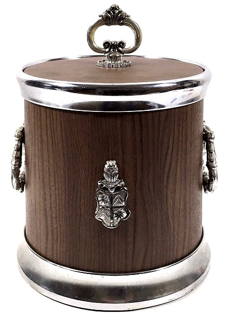 Faux Wood Ice Bucket with Lid
