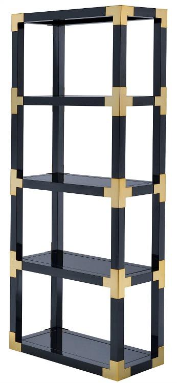 Acme Furniture Lafty Gold and Black High Gloss Mirror Bookshelf