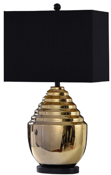 StyleCraft Art Deco Metallic Gold Ceramic and Dark Base Table Lamp
